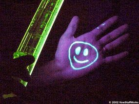 """Ordinary highlighters work well as """"black light pens."""" Under the black light, the fluorescent ink glows!"""