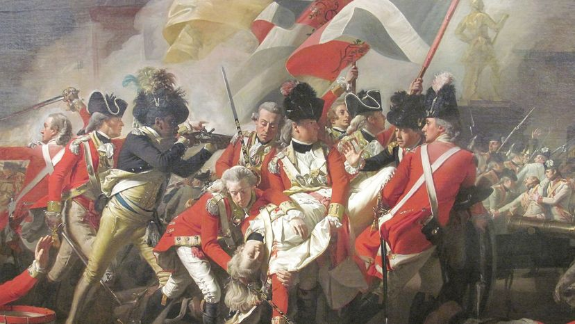 """John Singleton Copley's painting """"The Death of Major Peirson"""" shows a black soldier avenging the death of Peirson during the Battle of Jersey in England, a run-up to the American Revolutionary War. Wikimedia Commons"""