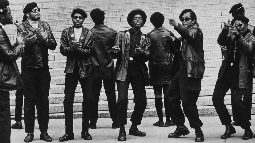 Members of the Black Panther Party demonstrate outside the Criminal Courts Building one month after 21 Panthers were charged with plotting to dynamite city stores, a police station and a railroad right-of-way, New York City. Jack Manning/New York Times Co./Getty Images