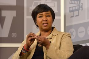 """Dr. Mae Jemison speaks onstage at the """"100 Year Starship: Interstellar Travel & Beyond"""" event during the 2013 SXSW festival in Austin, Texas. She was the first African American woman in space."""