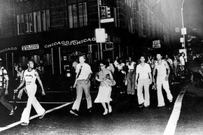 Hundreds of New Yorkers make their way home during a power cut after a power station was struck by lightning on July 13, 1977.