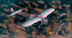 Early examples of the Bleriot XI utilized a four-blade propeller that was unable to make efficient use of the REP engine's power. Later, the REP was replaced by an Anzani powerplant that drove a two-blade prop that was more capable than its predecessor. See more classic airplane pictures.