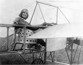 Harriet Quimby was America's first licensed woman pilot. In 1912 she flew a Bleriot XI from England to France across the English Channel. She was killed months later in a Bleriot monoplane, during an exhibition near Boston.