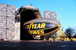 The Spirit of Goodyear coming out of its hangar at Wingfoot Lake Airship Base outside of Akron, Ohio