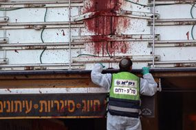 High-velocity spatter and blood drips after a suicide bombing in Dimona, Israel