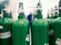 Close-up of oxygen cylinders