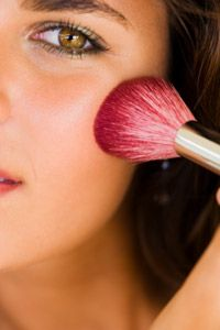 It's hard to overapply blush using powder and a brush.
