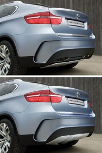 Rear view of the BMW X6 ActiveHybrid concept during combustion mode (above) and electric mode (below).