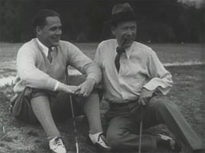 Bobby Jones enjoys the results of his tutorial with Frank Craven.