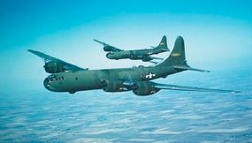 Boeing B-29 Superfortresses were at the forefront of American air attacks on Japan. These raids were under the command of Maj. Gen. Curtis LeMay, and were completely devastating. By late spring of 1945, very little of Tokyo and other major Japanese cities remained intact.