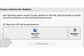 The Boot Camp Assistant gives users a simple slider tool to allocate partition space between Mac OS X and Windows.