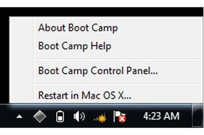 By default, Boot Camp places an icon in your Windows System Tray, which you can use to reboot to Mac OS X.