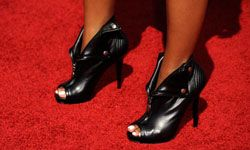 The singer Amerie sports peep-toe booties at the BET Awards.