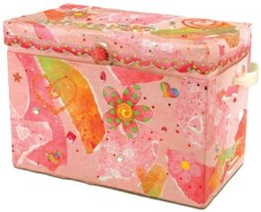 The collaged storage box craft is colorful, fun,