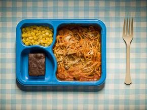 There's no doubt about it: plastic is everywhere. In the tray, the fork, the tablecloth, and in this case, maybe even the food.