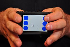 It's basically touch typing for the visually impaired. BrailleTouch provides a quick, accurate typing method on your smartphone, and you don't need eyesight in order to use it.