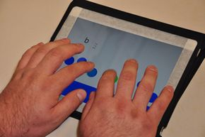 The app does work on tablets, but the input system isn't as natural as with a smartphone's smaller screen, which naturally guides the user's fingers to the correct spots.