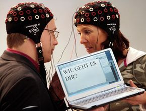 """Two people in Germany use a brain-computer interface to write """"how are you?"""""""