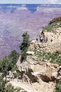 As hikers descend, they take in wonderful views of the Grand Canyon.