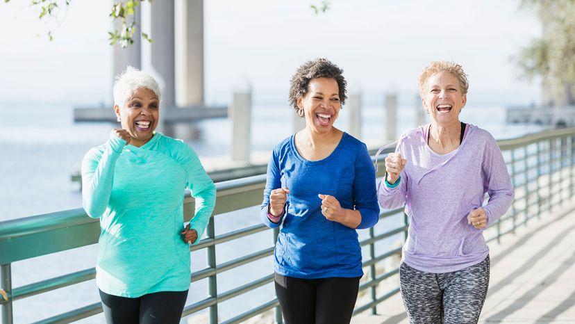 group of senior ladies walking