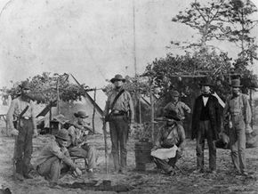 Image Gallery: The Civil War An early photo of Confederate volunteers stationed at Pensacola, Fla., circa 1861. See more Civil War pictures.