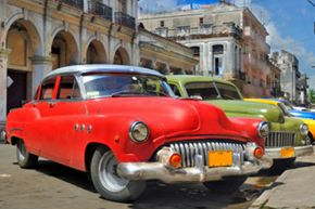 Classic cars like these are commonplace in Cuba.