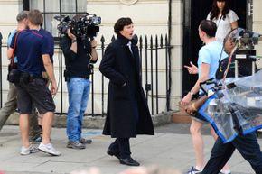 "Benedict Cumberbatch filming ""Sherlock"" in London in 2013."