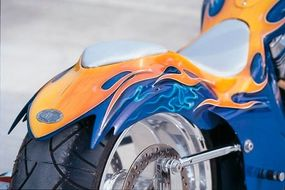 Custom Shop Cycles Pro Street Chopper's elaborate bodywork includes sculpted rear fender and frenched-in driver and passenger seats.