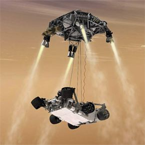 Because of its size, Curiosity couldn't do an airbag-assisted landing. Instead, the Mars Science Laboratory used the sky crane touchdown system illustrated here, which is capable of delivering a much larger rover onto the surface of Mars.