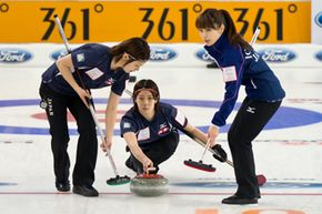 The Japanese team pulls out all stops at the World Women's Curling Championship 2013 in Riga, Latvia. See more winter sports pictures.