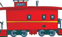 A kick of color makes this little red caboose drawing look polished.