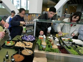 This cafeteria at the University of California at Berkeley is 100 percent organic -- a far cry from the first cafeterias. See more school lunch pictures.