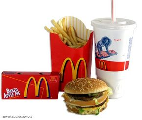 Fast Food Image Gallery This meal well exceeds your daily intake of fat and calories. See more fast food pictures.