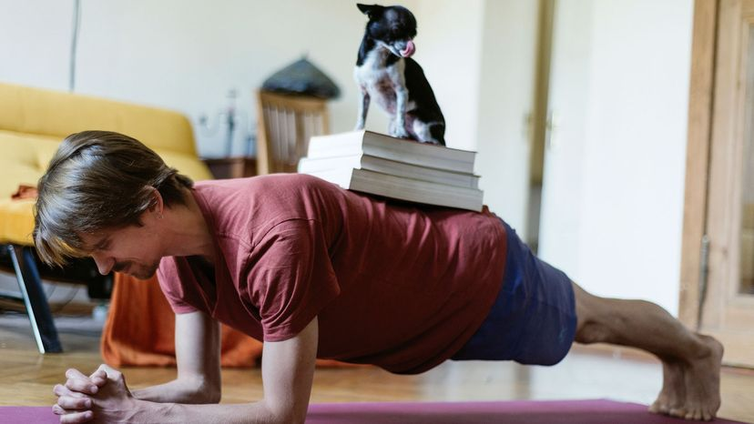 man doing planks with dog and book