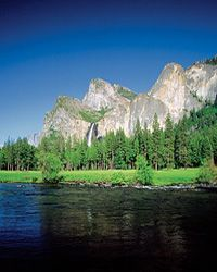 The Merced River meets Yosemite National Park in Mariposa County, Calif.