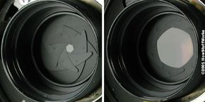 The plates in the iris diaphragm fold in on each other to shrink the aperture and expand out to make it wider.