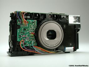 Automatic point-and-shoot camera use circuit boards and electric motors, instead of gears and springs.
