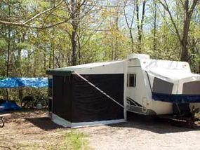 A folding camper