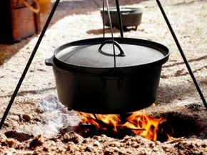 If you've got a dutch oven, it's easy to cook food over an open flame. See more barbecue pit pictures.