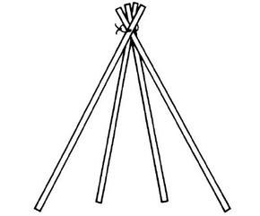 Bind four sticks together to make the base of the tepee.