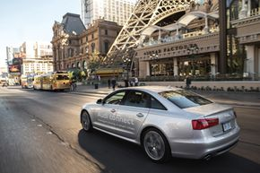 An Audi connect-equipped A6 cruises on the Las Vegas strip.