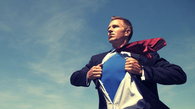 Superhero dressed in a suit