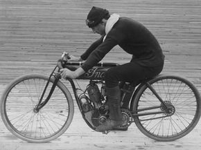 """Erwin """"Cannon Ball"""" Baker road across the United States in 1914 on an Indian motorcycle much like this one."""