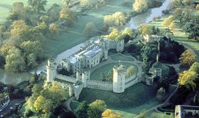 An aerial view of Warwick Castle