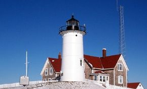 Cape Cod is famous for its quick-developing fog banks, as the warm waters of the Gulf Stream meet the colder air of the far north. At such times, the Cape Cod Lighthouse can be a real lifesaver for mariners disoriented by atmospheric conditions. See more pictures of lighthouses.