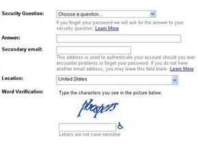 Google's Gmail service requires new users to enter a CAPTCHA before creating an account.