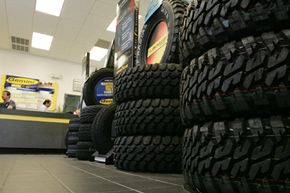 Tires are displayed at a Goodyear Gemini store in Spring, Texas.