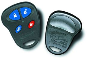 The keychain transmitter from the Sidewinder security system: The transmitter lets you lock the doors, arm and disarm the alarm and set off the siren from outside the car.