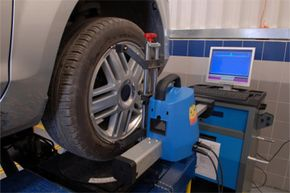 A wheel alignment machine like this one is a key tool in restoring a suspension to its proper alignment.