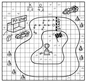 Create this car race game on graph paper.
